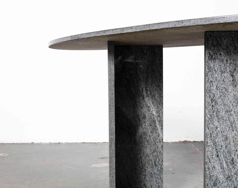 Marble 1970s Italian Dark Granite Oval Writing Desk or Console Table