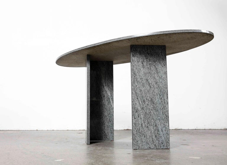 1970s Italian Dark Granite Oval Writing Desk or Console Table 1