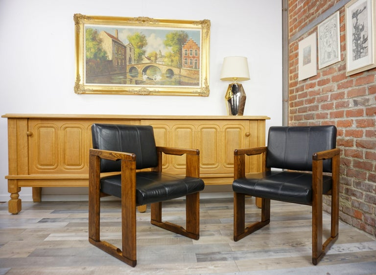 1970s Italian design by Afra & Tobia Scarpa wooden and black leather pair of
