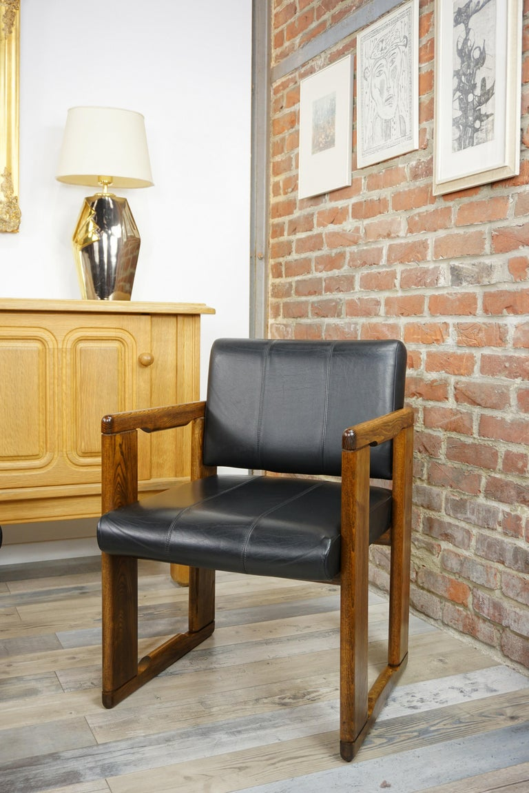 European 1970s Italian Design by Afra&Tobia Scarpa Wooden and Black Leather Armchairs For Sale