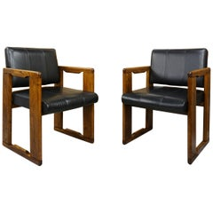 1970s Italian Design by Afra&Tobia Scarpa Wooden and Black Leather Armchairs