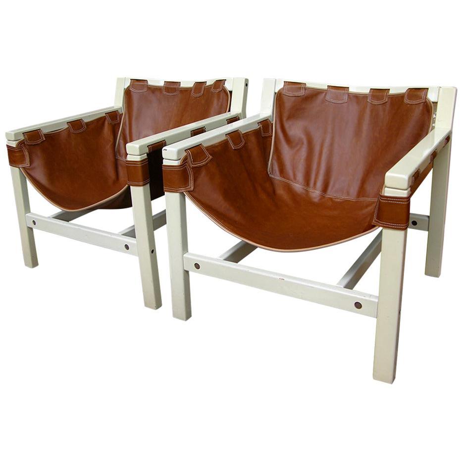 Karl Hauner for Forma Italian Safari Brown Leather Lounge Chairs, 1970s