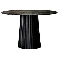 1970s Italian Design Style Marble and Wooden Round Dining Pedestal Table