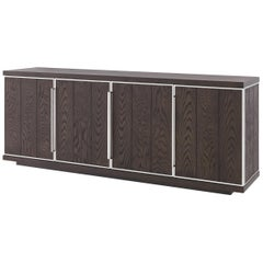 1970s Italian Design Style Oak Wooden and Chrome Metal Sideboard