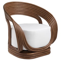 Curved Rattan and White Fabric Armchair