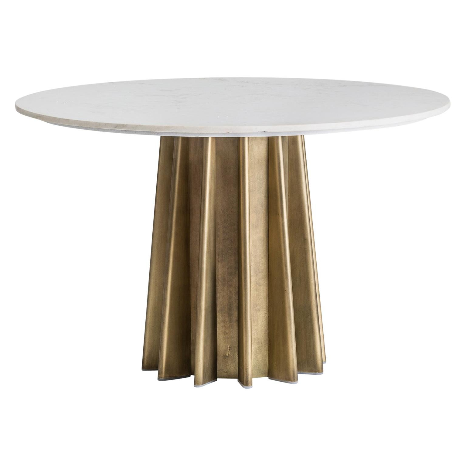 1970s Italian Design Style Round Marble and Metal Pedestal Table