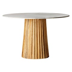 1970s Italian Design Style Round Marble and Wooden Pedestal Table