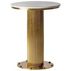 1970s Italian Design Style Round White Marble and Gilt Pedestal Table