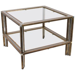 1970s Italian Designer Brass and Steel Table