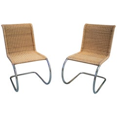 1970s Italian Designer Chairs with Steel Structure and Weaved Rattan