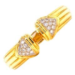 1970s Italian Diamond Hinged Ribbed Cuff Bracelet 18 Karat Yellow Gold