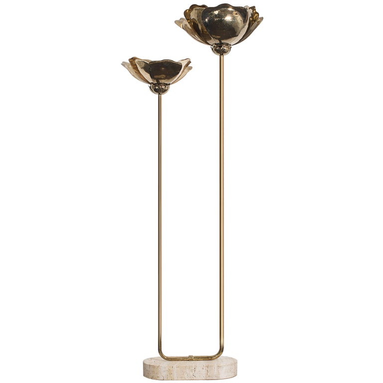 1970s Italian Double Lotus Brass Floor Lamp Attributed to Tommaso Barbi