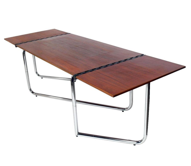 Mid-Century Modern 1970s Italian Drop Leaf Dining Table or Desk For Sale