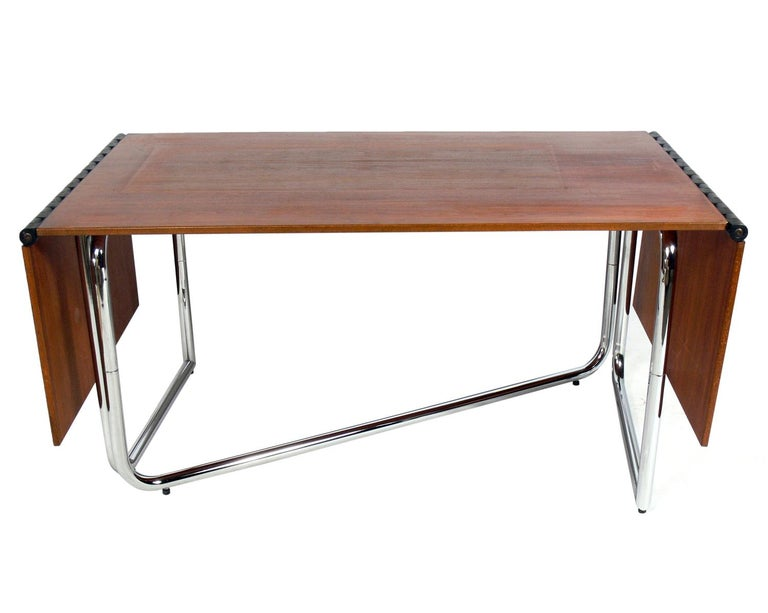 Late 20th Century 1970s Italian Drop Leaf Dining Table or Desk For Sale