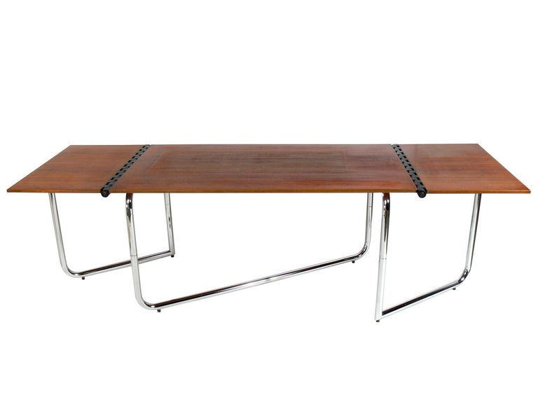 Metal 1970s Italian Drop Leaf Dining Table or Desk For Sale