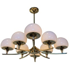 1970s Italian Eight-Light Chandelier by Sciolarie