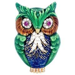 1970s Italian Enamel Diamond Ruby Gold Owl Pendant