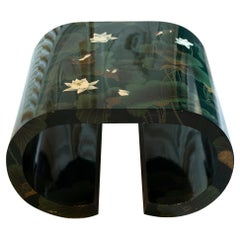 1970's, Italian Flora e Fauna Green and Gold Lacquered Coffee Table