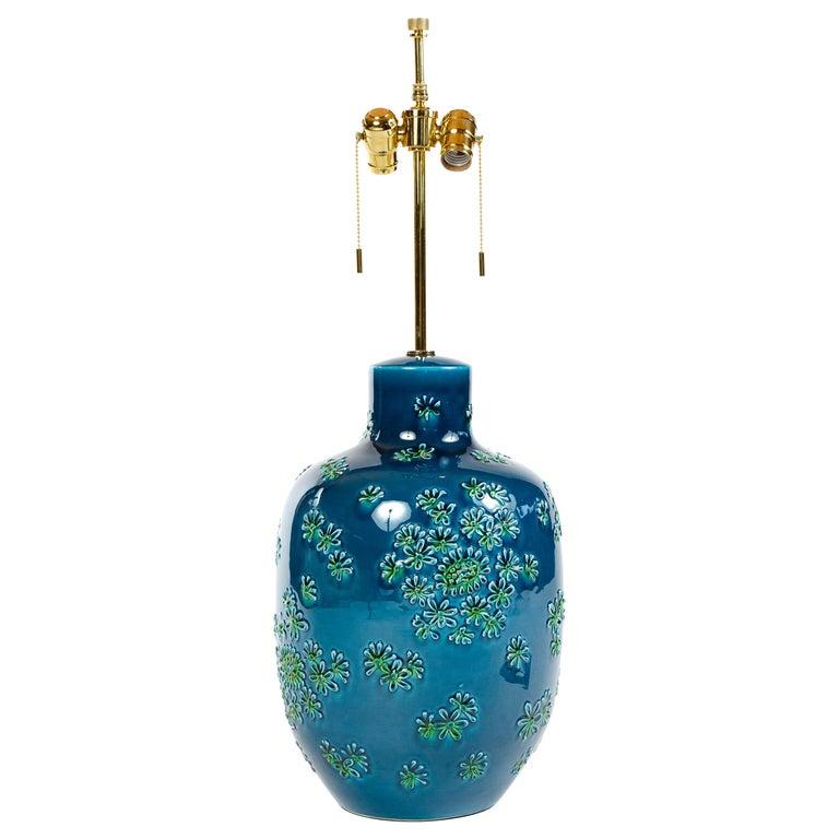 1970s Italian Floral Motif Ceramic Table Lamp For Sale