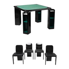 1970s Italian Game Table and Chairs by Pierluigi Molinari for Pozzi