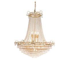 1970s Italian Gilt Brass Crystal Tent and Bag Chandelier 18 Bulbs Empire Style