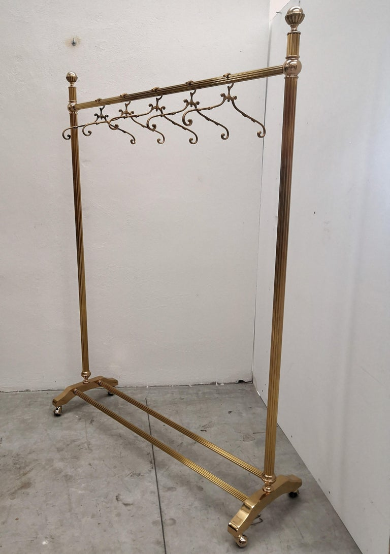 1970s Italian Gilt Brass Garment Rack, Clothing Rail, Dress Hanger For Sale 2