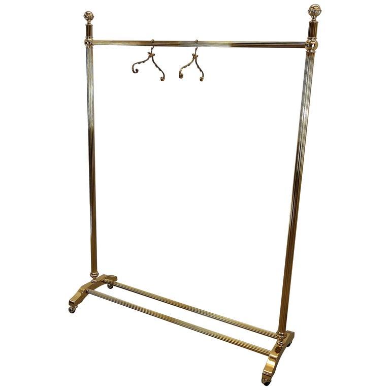 1970s Italian Gilt Brass Garment Rack, Clothing Rail, Dress Hanger For Sale
