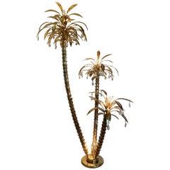 1970s Italian Gilt and Crystal Palm Tree Floor Lamp