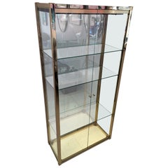 1970s Italian Gold Chrome, Mirror and Glass Display Cabinet Renato Zevi Style