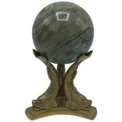 1970s Italian Green Marble Ball Sculpture on Brass Koi Fish Stand
