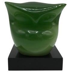 1970s Italian Green Resin Owl Sculpture