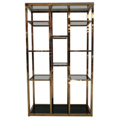 1970s Italian Hollywood Regency Brass and Green Glass Étagère Shelving Display