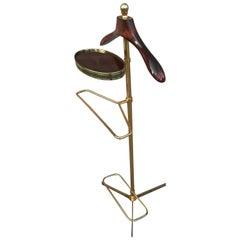 1970s Italian Hollywood Regency Brass and Wood Valet Stand Dressboy