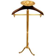 1970s Italian Hollywood Regency Brass and Wood Valet Stand Dressboy