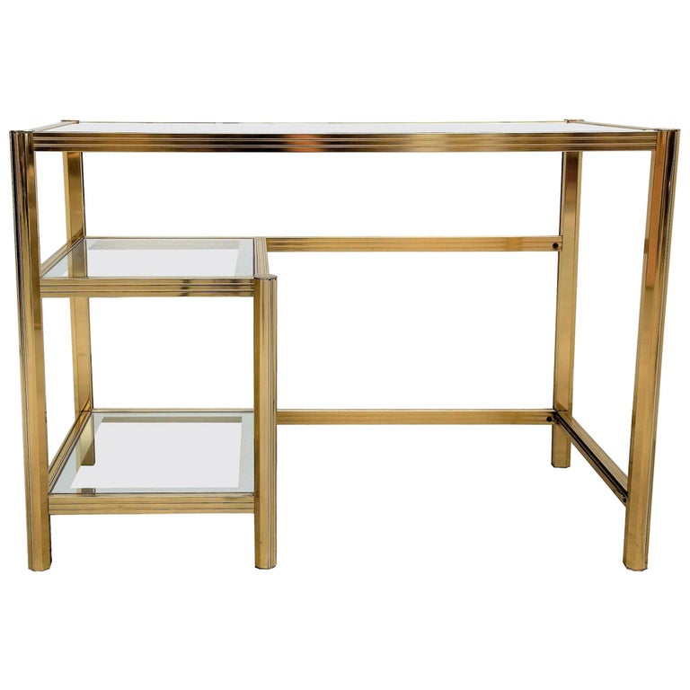 1970s Italian Hollywood Regency Style Brass And Glass Desk Writing