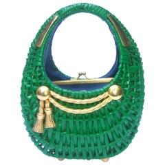 1970s Italian Kelly Green Wicker Diminutive Basket Shaped Handbag