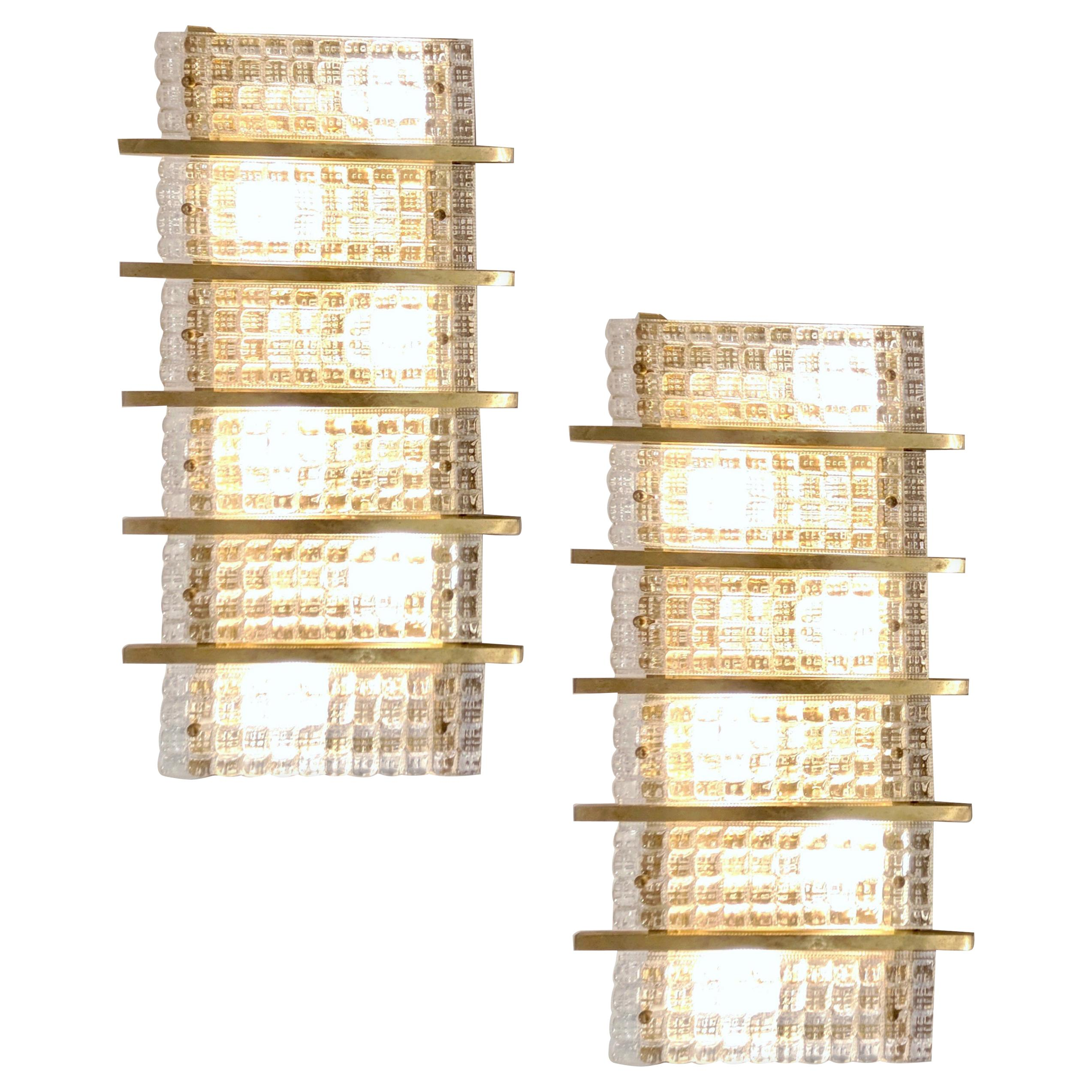 1970s Italian Large Rectangular Brass and Clear Crystal Murano Glass Sconces