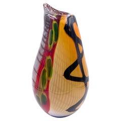 1970s Italian Large Seguso Murano Sommerso Organic Glass Teardrop Vase