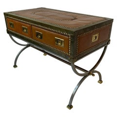1970s Italian Leather Trunk Coffee Table