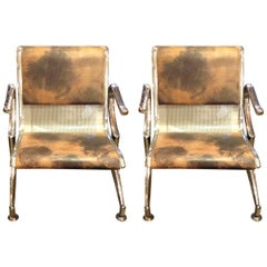 1Modern 970s Italian Leather, Chrome and Aluminium Armchairs