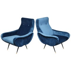 Pair of 1970s Italian Lounge Chairs in the Manner of Marco Zanuso