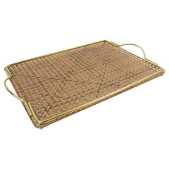 1970s Italian Lucite, Rattan and Brass Barware Serving Tray