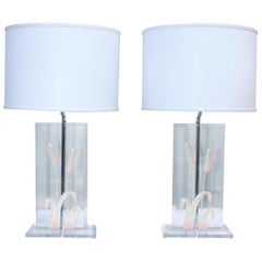 1970s Italian Lucite Table Lamps