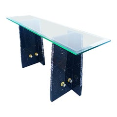 1970s Italian Marble and Glass Console Table
