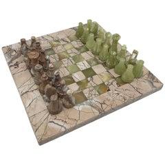 1970s Italian Marble and Onyx Chess Board Set