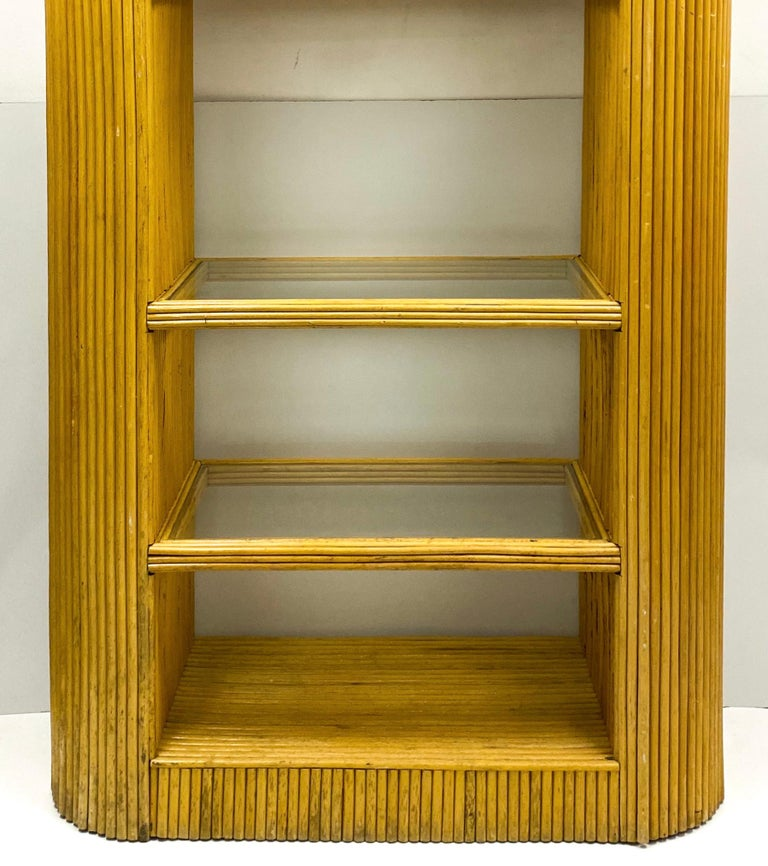 Organic Modern 1970s Italian Modern Pencil Bamboo Etagere / Bookshelf / Cabinet For Sale