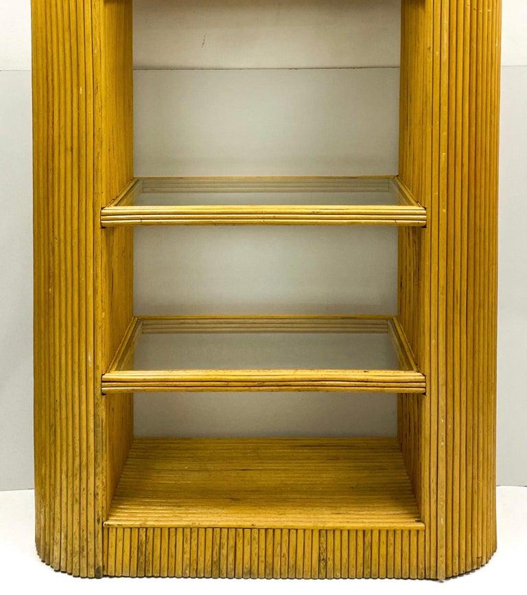 1970s Italian Modern Pencil Bamboo Etagere / Bookshelf / Cabinet For Sale 1
