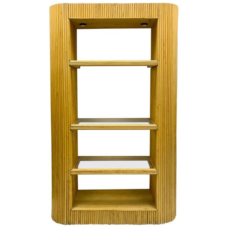 1970s Italian Modern Pencil Bamboo Etagere / Bookshelf / Cabinet For Sale