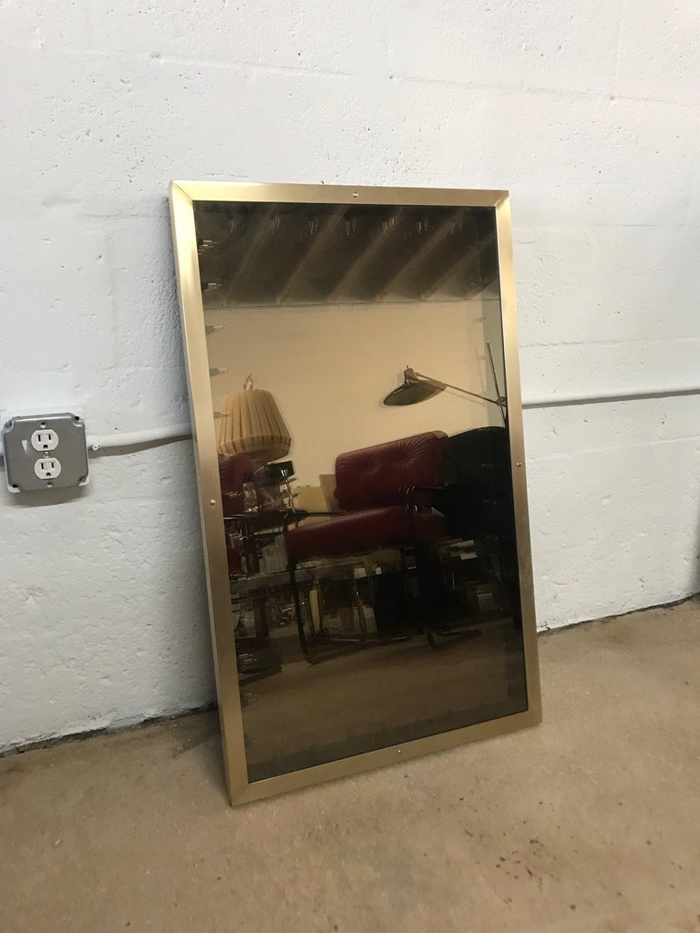Brass 1970s Italian Modern Infinity Mirror For Sale