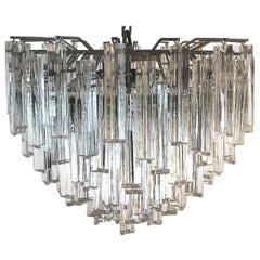 1970s Italian Modern Venini Triedri Glass Chandelier